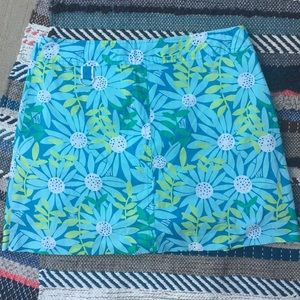 Lilly Pulitzer Floral Skirt Green Blue 10